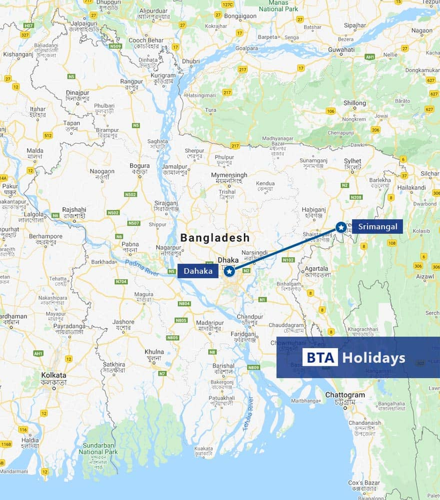 Map of Srimangal Day Tour with BTA Holidays