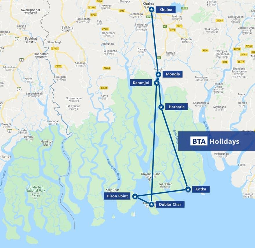 Map of Sundarban Tour to visit Hiron Point & Dublar Char with BTA Holidays