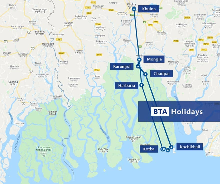 Map of Sundarban Tour with BTA Holidays